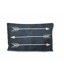 LAUREN TAYLOR *FAUX LINEN FEATHER FILLED ARROWS NAVY/LINEN CUSHION (MP6) 13X19""