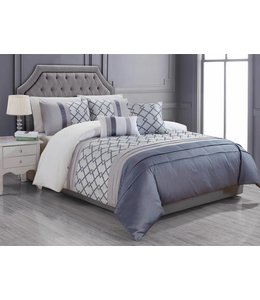 LAUREN TAYLOR *5PC VERENA DUVET COVER SET GRAPHITE (MP2)