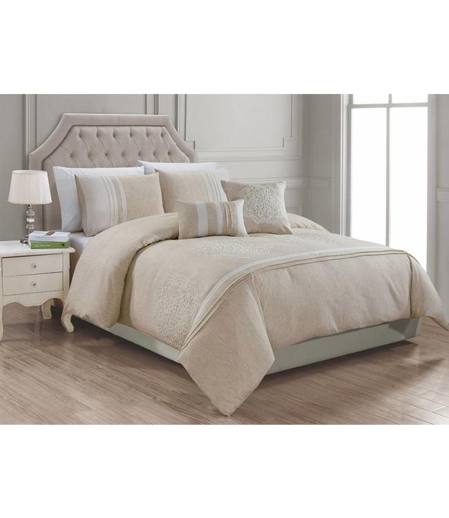 LAUREN TAYLOR 5PC GIANA DUVET COVER SET LINEN (MP2)