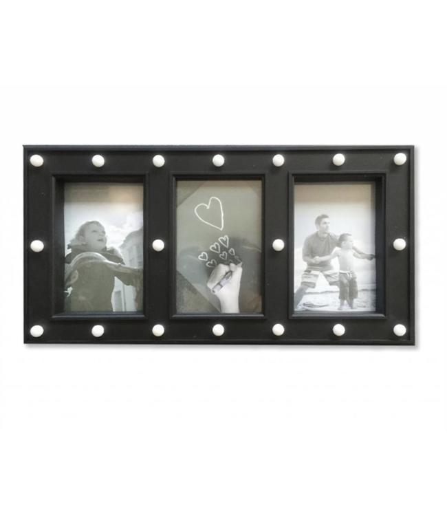 LAUREN TAYLOR *LED 3 PHOTO - PICTURE FRAME BLACK (MP6)
