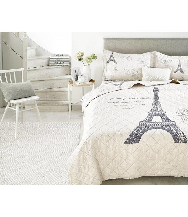 LAUREN TAYLOR *BONSOIR PARIS QUILT SET w/BONUS CUSHION LINEN/BLACK (MP2)