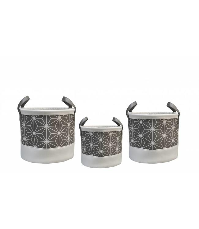 LAUREN TAYLOR *CHLOE POLY/COTTON STORAGE BASKETS GREY (MP2)