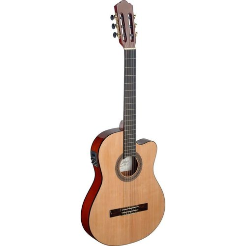 Stagg Mencia series cutaway acoustic-electric classical guitar with thin body and solid spruce top