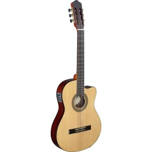 Stagg Cereza series cutaway acoustic-electric classical guitar with thin body and solid spruce top