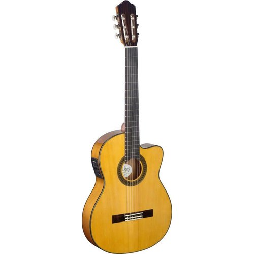 Stagg Cutaway acoustic-electric flamenco classical guitar with thin body and solid spruce top