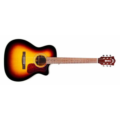 Guild OM-140CE Antique Sunburst, Westerly 140 Series All Solid Orchestra Style Cutaway Acoustic/Electric w/Case