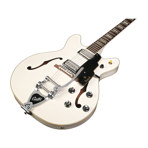 Guild Starfire V w/ Guild Vibrato Tailpiece White Semi-Hollow Body w/Case