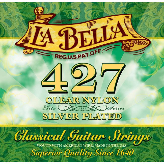 La Bella 427 ELITE - Clear Nylon, Silver Plated Medium Tension