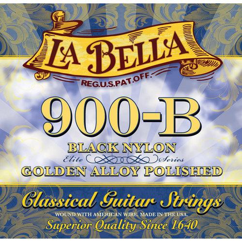 La Bella 900-B ELITE, Black Nylon, Polished Golden Alloy