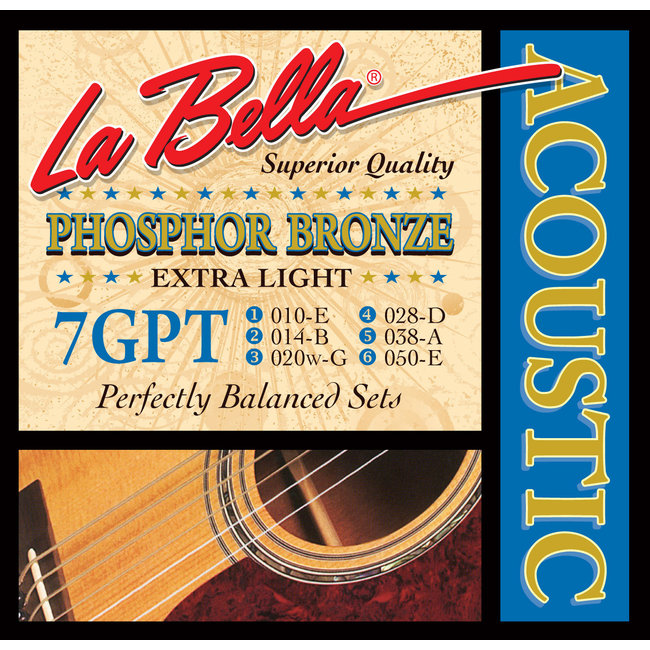 La Bella 7GPCL Phosphore Bronze - Custom Light Guage Acoustic Strings