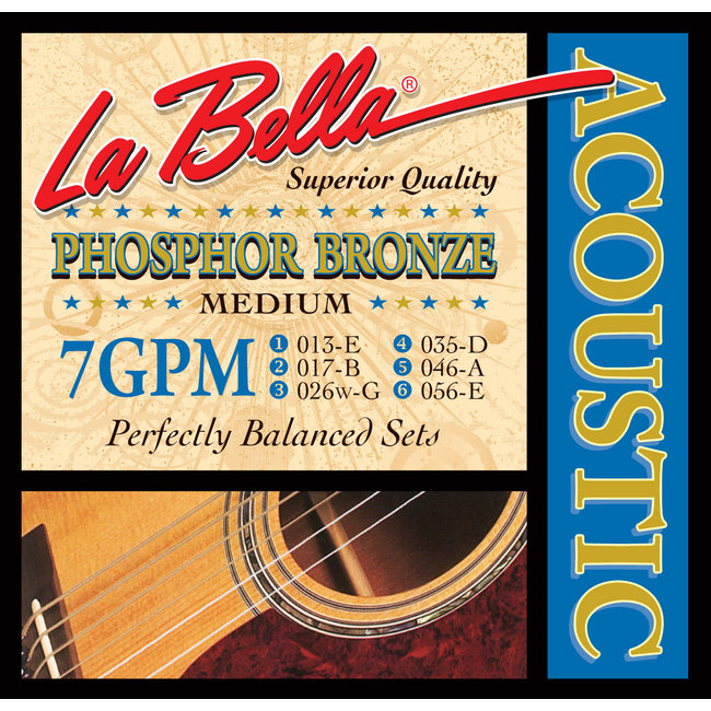 La Bella 7GPM Phosphore Bronze - Medium Guage Acoustic Strings