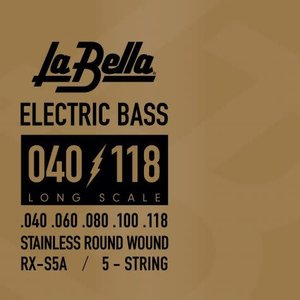 La Bella RX-S5A RX Series, 40-118 Stainless Steel Long Scale Bass Strings