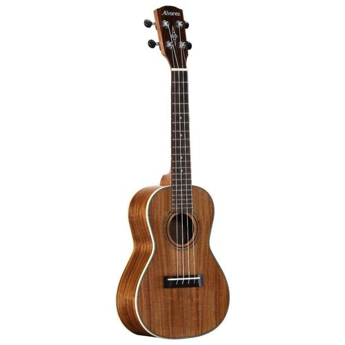 Alvarez Concert ukulele pack. Solid acacia top, acacia back & sides. Includes padded gig bag and clip-on tuner.
