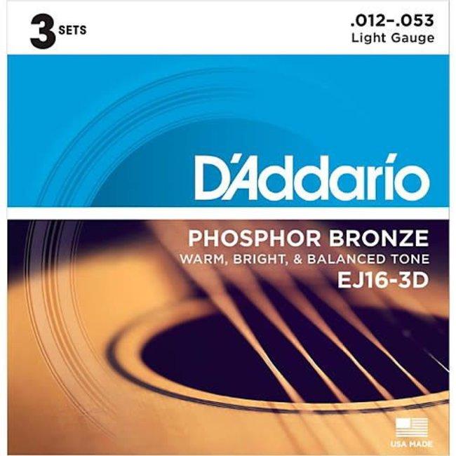 Phosphor Bronze Light Acoustic Guitar Strings (3-Pack) 0.12-0.53