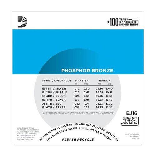 D'Addario Phosphor Bronze Light Acoustic Guitar Strings (3-Pack) 0.12-0.53