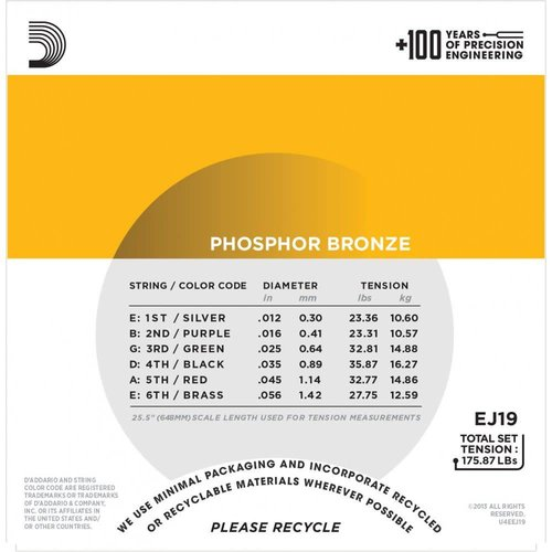 D'Addario Phosphor Bronze Acoustic Guitar Strings Bluegrass 0.12-0.56