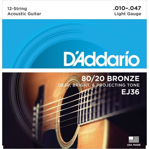 D'Addario 12-String Bronze Acoustic Guitar Strings Light 0.10-0.47