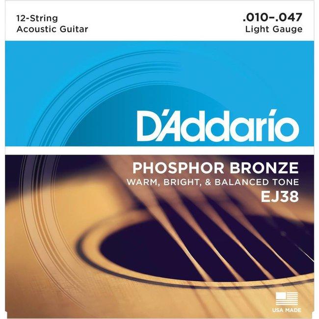 12-String Phospher Bronze Acoustic Guitar Strings Light 0.10-0.47