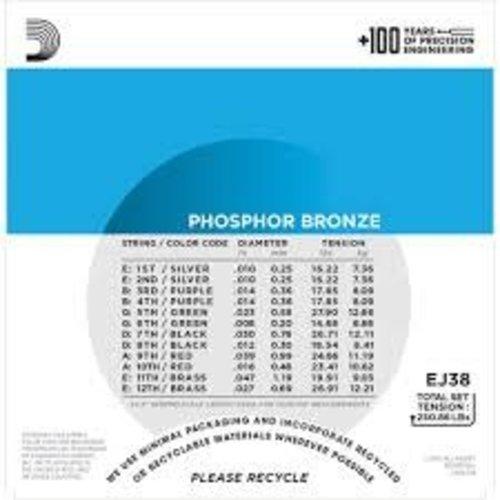 D'Addario 12-String Phospher Bronze Acoustic Guitar Strings Light 0.10-0.47
