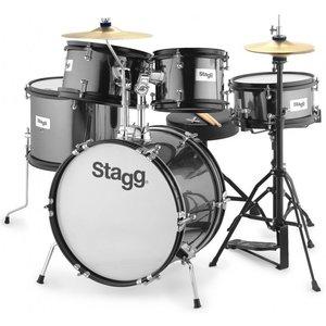 Stagg TIM JR 5/16 BK 5 Piece Junior Drum Set with Hardware and Throne - Black