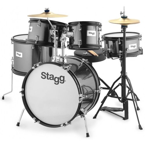 Stagg TIM JR 5/16 BK 5 Piece Junior Drum Set with Hardware and Throne - Black