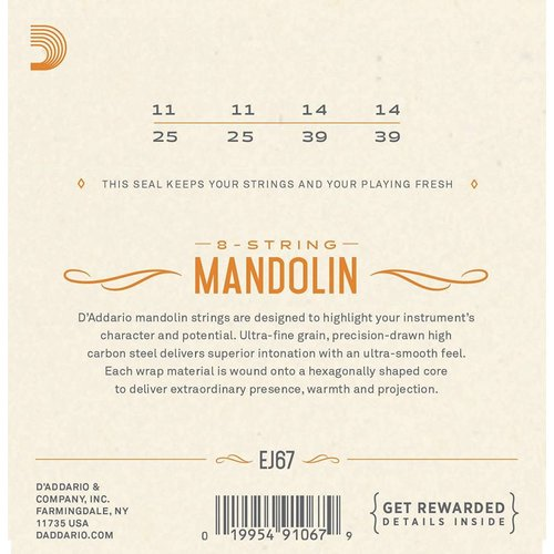 D'Addario Nickel Mandolin Strings Medium 0.11-0.39