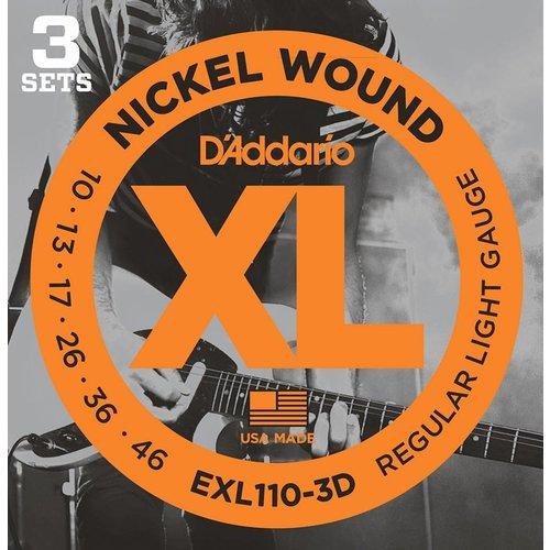 D'Addario Nickel Wound Electric Guitar Strings Regular Light 10-46 3 Sets