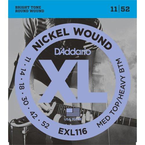 D'Addario Nickel Wound Electric Guitar Strings Medium Top/Heavy Bottom 11-52