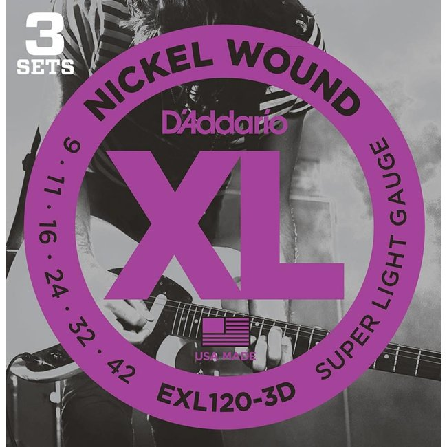 Nickel Wound Electric Guitar Strings Super Light 9-42 3 Sets