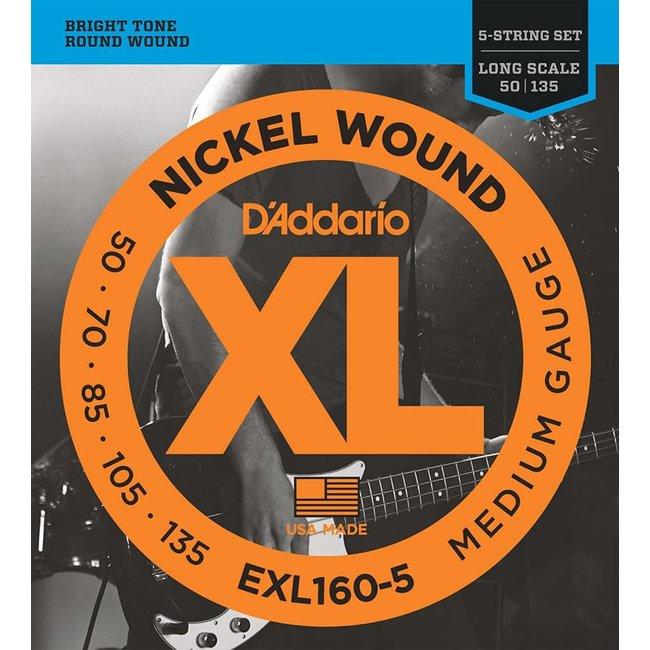Nickel Wound Bass Guitar Strings Medium 50-105 Long Scale 5-String