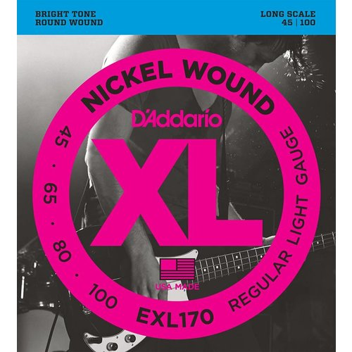D'Addario EXL170 - Nickel Wound Bass Guitar Strings Light 45-100 Long Scale
