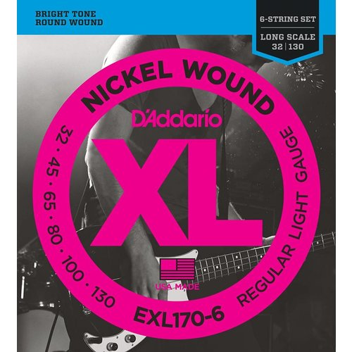 D'Addario 6-String Nickel Wound Bass Guitar Strings Light 32-130 Long Scale