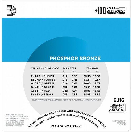 D'Addario Phosphor Bronze Acoustic Guitar Strings Light 12-53