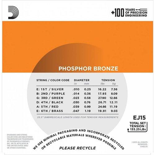 D'Addario Phosphor Bronze Acoustic Guitar Strings Extra Light 10-47