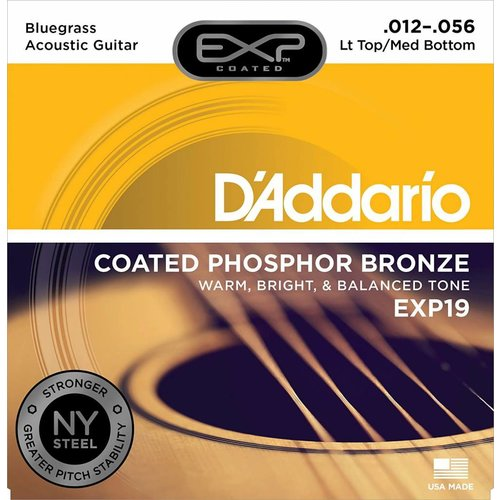 D'Addario Coated Phosphor Bronze Acoustic Guitar Strings Light Top/Medium Bottom/Bluegrass 12-56
