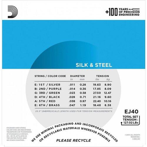 D'Addario Silk & Steel Folk Guitar Strings 11-47