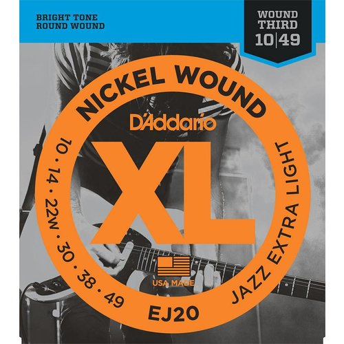 D'Addario EJ20 - Nickel Wound Electric Guitar Strings Jazz Extra Light 10-49