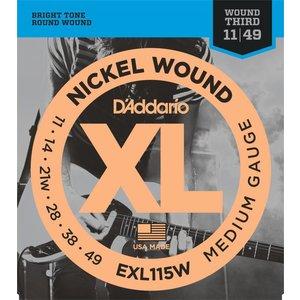 D'Addario EXL115W - Nickel Wound Electric Guitar Strings Medium/Blues-Jazz Rock Wound 3rd 11-49
