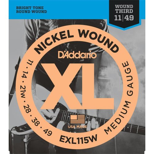 D'Addario Nickel Wound Electric Guitar Strings Medium/Blues-Jazz Rock Wound 3rd 11-49