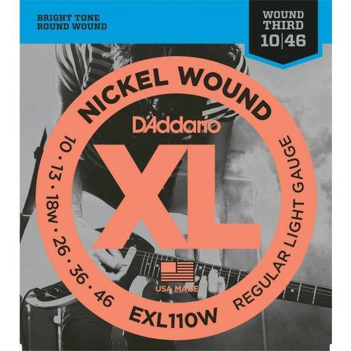 D'Addario Nickel Wound Electric Guitar Strings Regular Light Wound 3rd 10-46