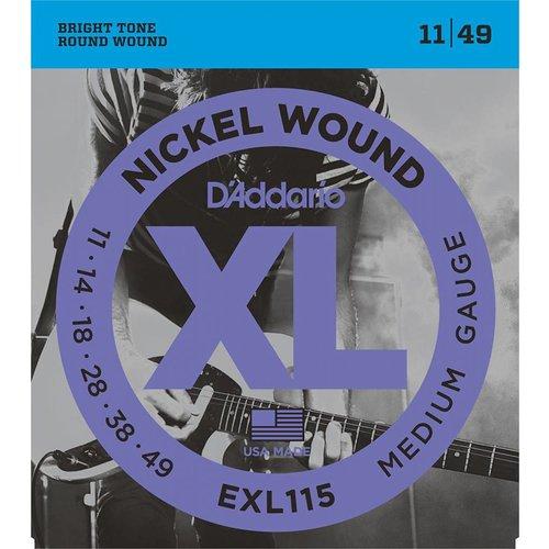 D'Addario Nickel Wound Electric Guitar Strings Med. Blues/Jazz Rock 11-49