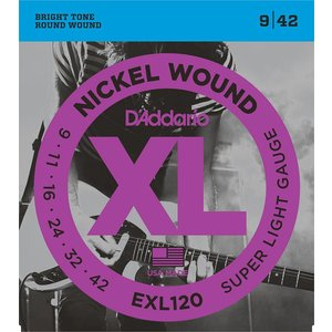 D'Addario EXL120 - Nickel Wound Electric Guitar Strings Super Light 9-42