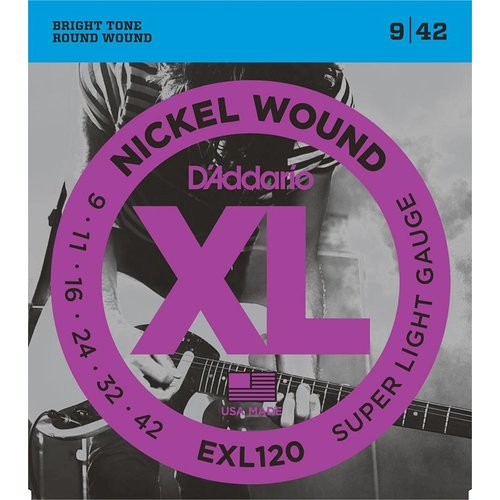 D'Addario Nickel Wound Electric Guitar Strings Super Light 9-42