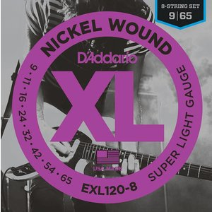 D'Addario EXL120-8 8-String Nickel Wound Electric Guitar Strings Super Light 9-65