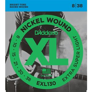 D'Addario EXL130 - Nickel Wound Electric Guitar Strings Extra-Super Light 8-38