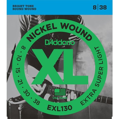 D'Addario Nickel Wound Electric Guitar Strings Extra-Super Light 8-38
