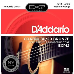 D'Addario EXP12 - Coated 80/20 Bronze Acoustic Guitar Strings Medium 13-56
