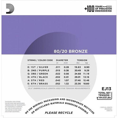 D'Addario 80/20 Bronze Acoustic Guitar Strings Custom Light 11-52