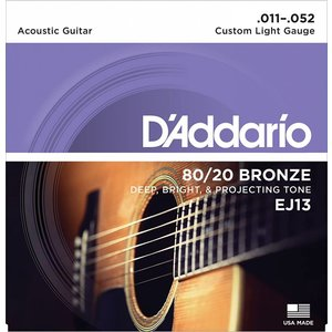 D'Addario EJ13 - 80/20 Bronze Acoustic Guitar Strings Custom Light 11-52