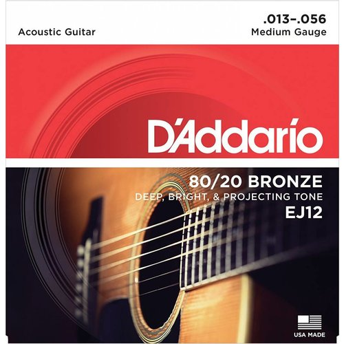 D'Addario 80/20 Bronze Acoustic Guitar Strings Medium 13-56